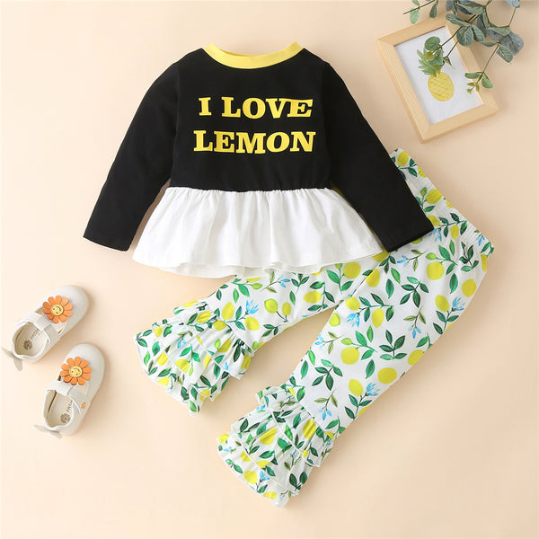 Girls Love Lemon Long Sleeve Top & Printed Trousers Girl Wholesale
