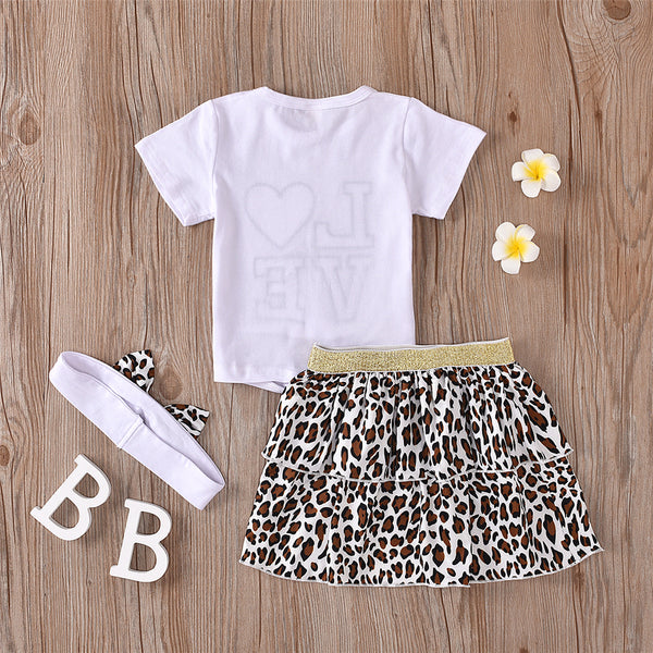 Girls Love Leopard Printed Short Sleeve Top & Skirt & Headband Wholesale Girl Clothing