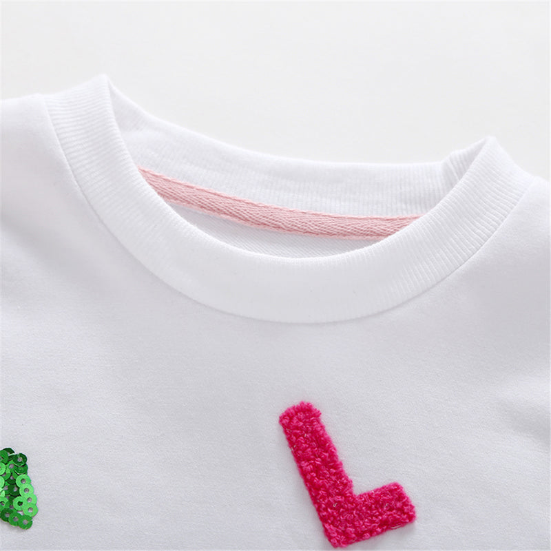 Girls Love Letter Cartoon Long Sleeve T-Shirts Girl Boutique Clothing Wholesale