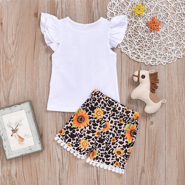 Girls Love Sunflower Printed Short Sleeve Tops & Leopard Shirts Kids Wear Wholesale