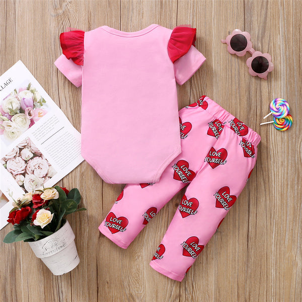 Baby Girls Love Yourself Heart Printed Ruffled Short Sleeve Romper & Pants cheap baby clothes wholesale