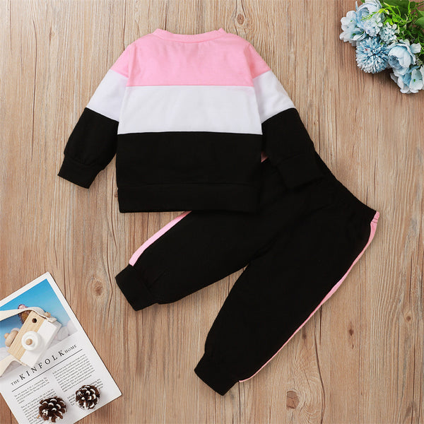 Lovely Baby Printed Long Sleeve Color Block Cotton Top & Pants Wholesale Clothing Baby