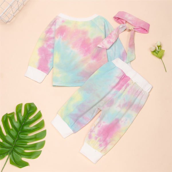 Baby Lovely Girls Printed Tie Dye Long Sleeve Top & Pants & Headband Baby Clothes Cheap Wholesale