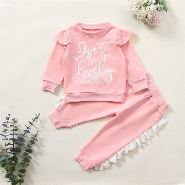 Baby Girls Lovely Letter Printed Ruffled Long-Sleeve Top & Pants Baby Clothes Cheap Wholesale