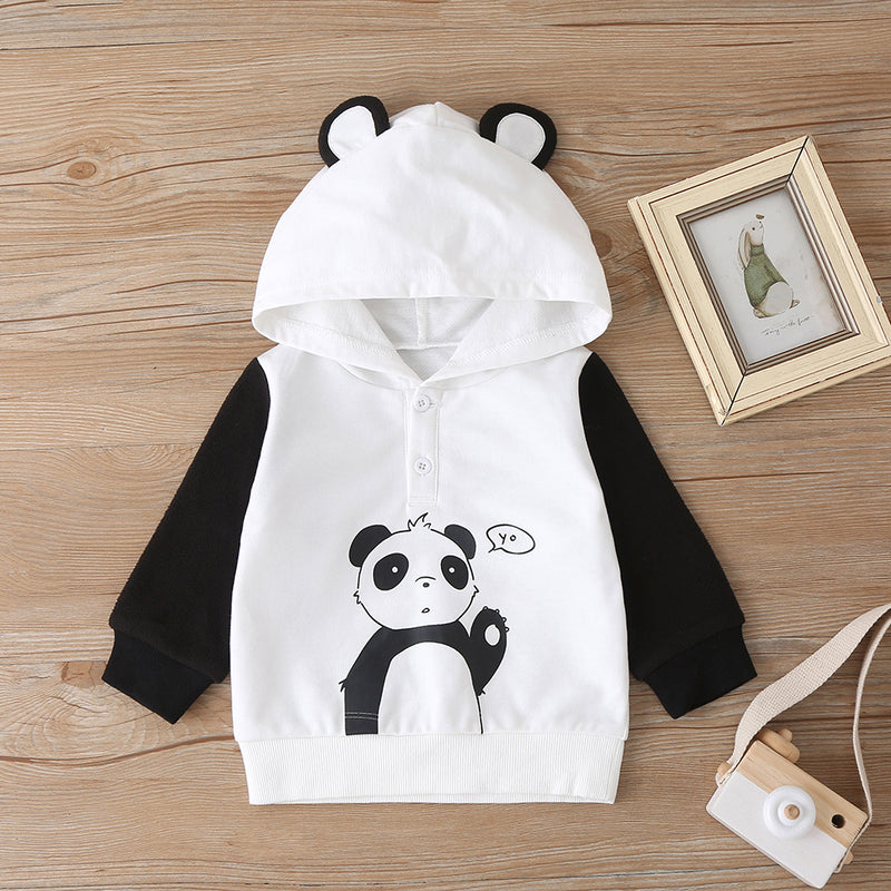 Baby Unisex Lovely Panda Long Sleeve Hooded Top & Pants Baby Boutique Clothing Wholesale