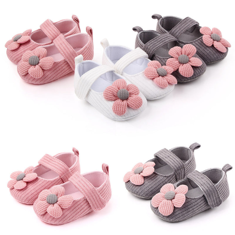 Baby Girls Magic Tape Flower Sweet Flats