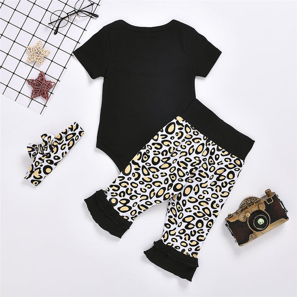 Baby Girls Mama's Bestie Short Sleeve Romper & Leopard Pants & Headband Buy Baby Clothes In Bulk