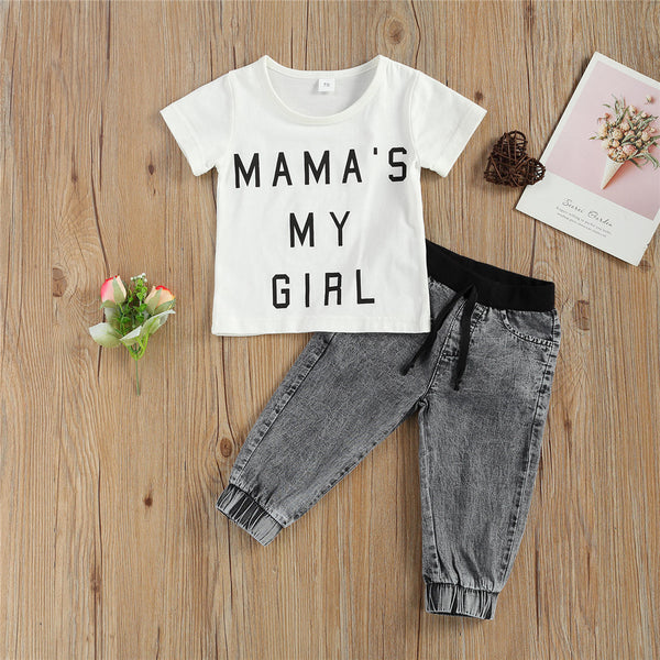 Baby Unisex Mama's My Girl Short Sleeve Top & Jeans trendy kids wholesale clothing