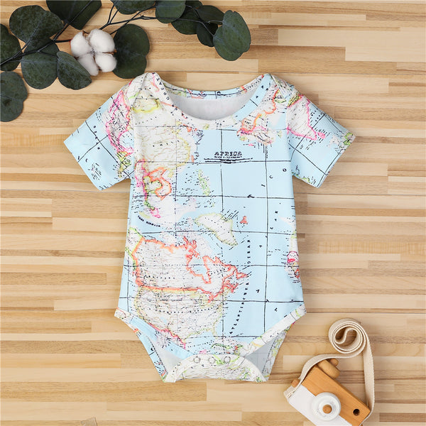 Baby Unisex Map Pattern Short Sleeve Romper Wholesale Clothing Baby
