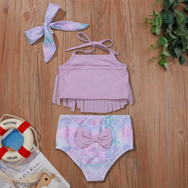 Baby Girls Marine Element Printed Swimming Suit Solid Tassel Tank Top & Shorts Babywear Wholesale