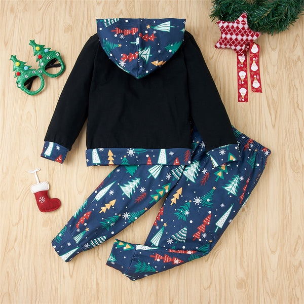 Unisex Merry Christmas Hooded Print Top & Pants Kids Wholesale Clothing