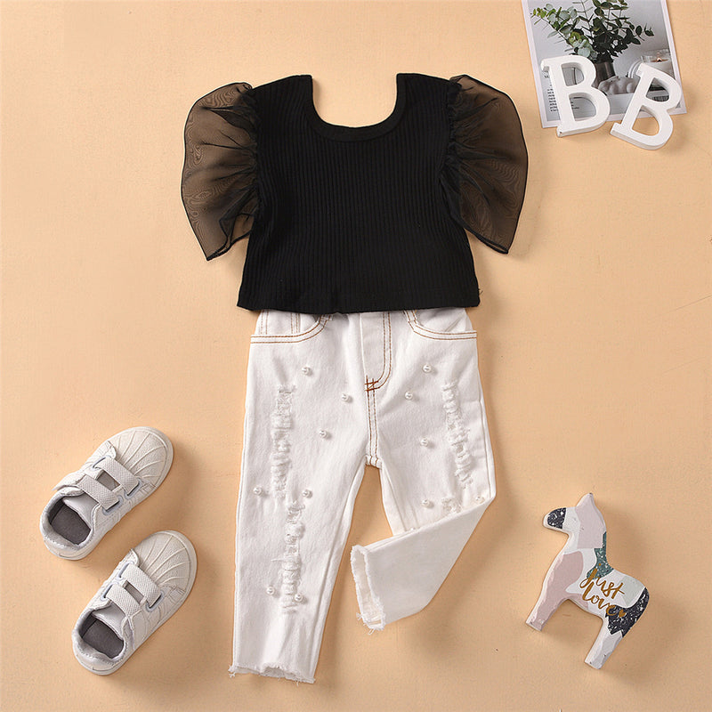 Girls Mesh Sleeve Summer Solid Top & Beaded White Jeans Wholesale Girls Clothing