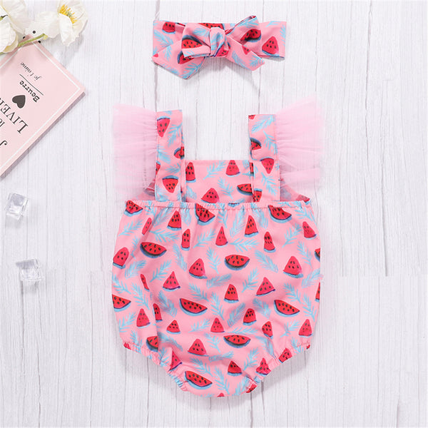 Baby Girls Mesh Watermelon Printed Romper & Headband Baby Clothes Wholesale Bulk