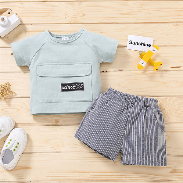 Boys Mini Boss Letter Printed Short Sleeve Button Top & Striped Shorts quality children's clothing wholesale