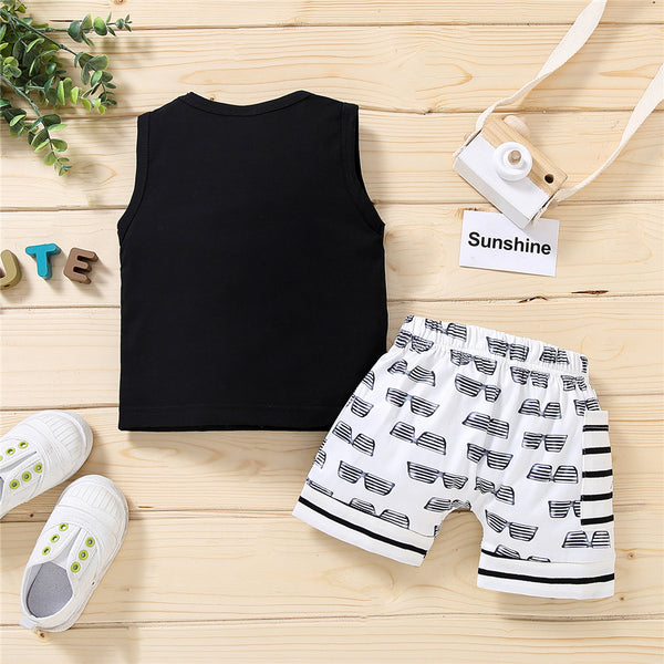 Baby Boys Mini Boss Letter Printed Sleeveless Vest & Shorts wholesale baby boy clothes