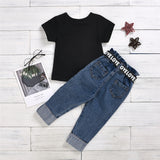 Girls Mini Influencer Short Sleeve Tee & Belt Jeans Baby Girl Clothes Wholesale