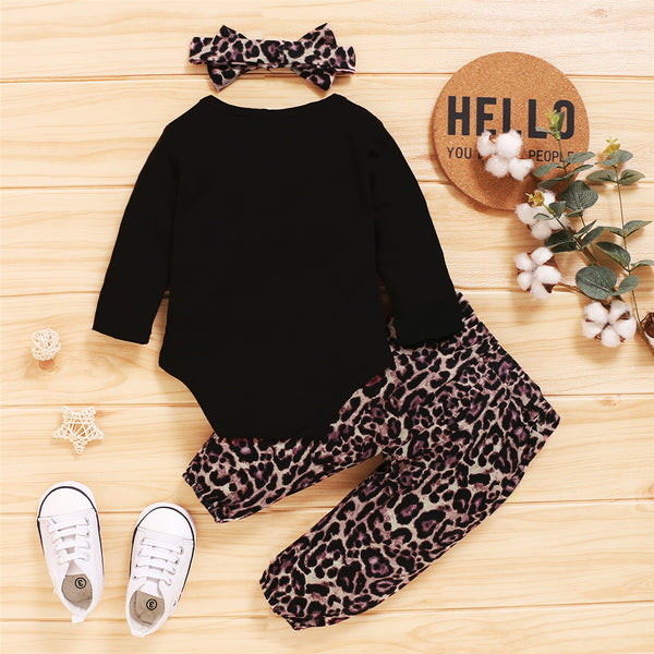 Baby Mini Letter Printed Long Sleeve Romper & Leopard Printed Pants & Headband Baby Outfits