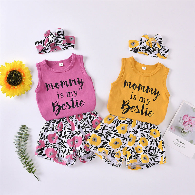 Girls Mommy Is My Bestie Sleeveless Top & Floral Shorts & Headband Girls Clothes Wholesale