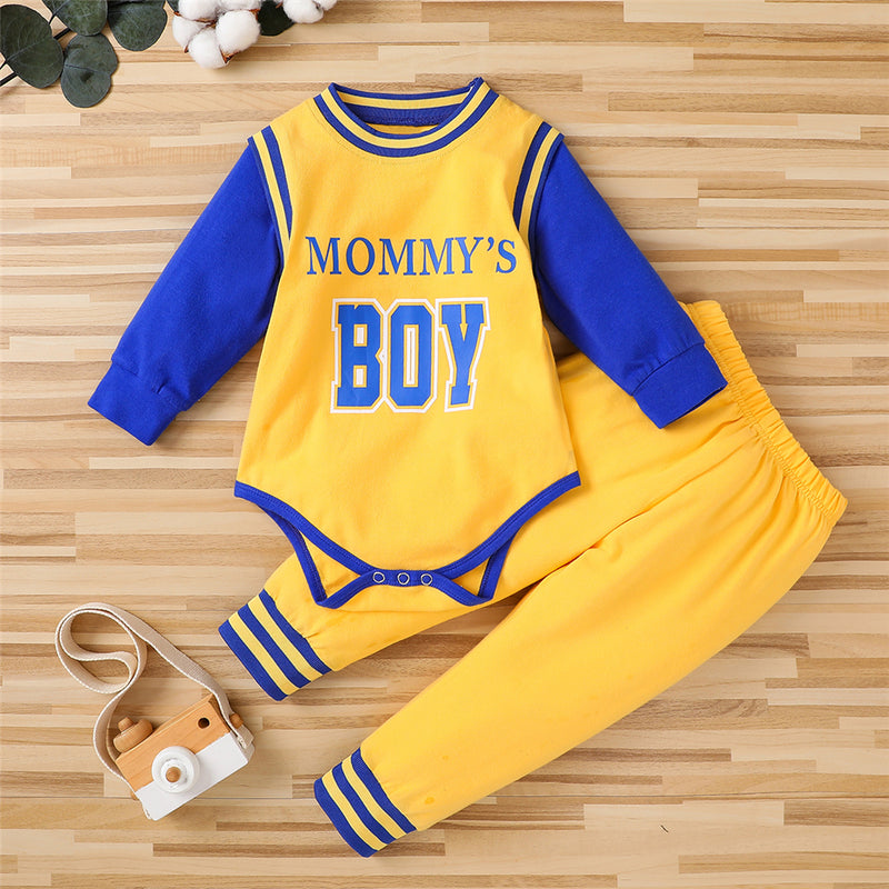 Baby Mommy's Boy Long Sleeve Sport Romper & Pants Baby Clothing Cheap Wholesale