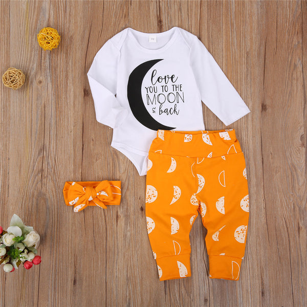 Baby Girls Moon Printed Long Sleeve Romper & Pants & Headband Baby Clothes Vendors