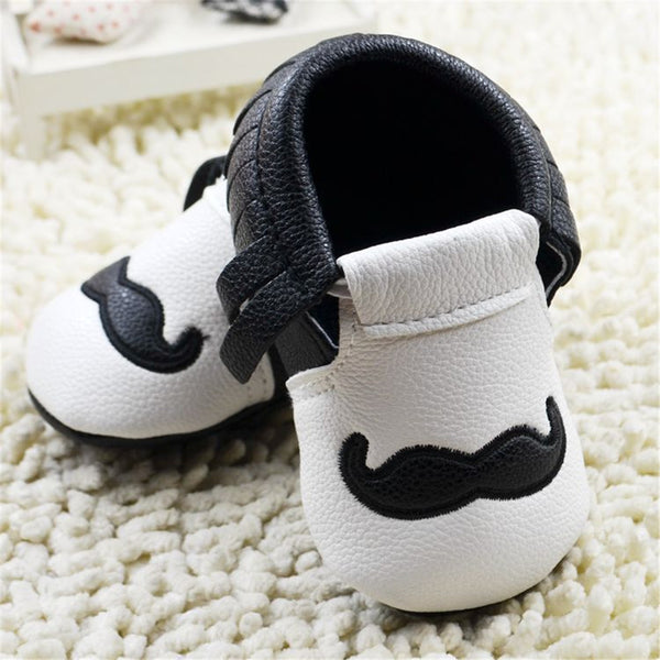 Baby Boys Mustache Pattern Slip On Infant shoes