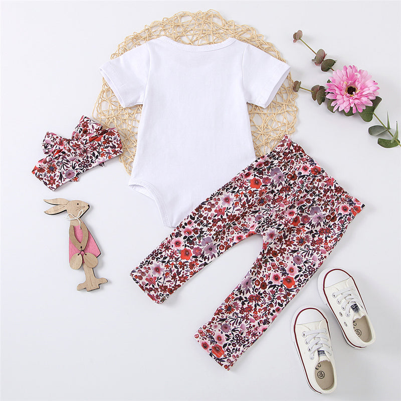 Baby Girls My Daddy Is My Hero Printed Short Sleeve Romper & Floral Pants & Headband Baby Clothes Cheap Wholesale