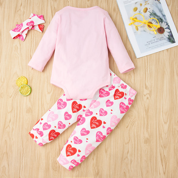 Baby Girls My First Valentine's Day Long Sleeve Romper & Pants & Headband Baby Clothing Cheap Wholesale