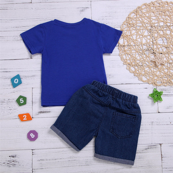 Baby Boys My Wonderful Beard Printed Short Sleeve Top & Denim Shorts Baby Clothes Cheap Wholesale