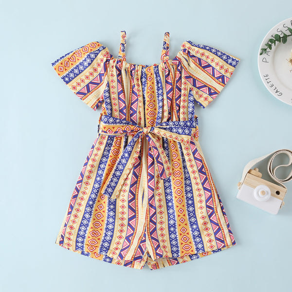 Girls National Style Printed Short Sleeve Jumpsuit wholesale girls clothes