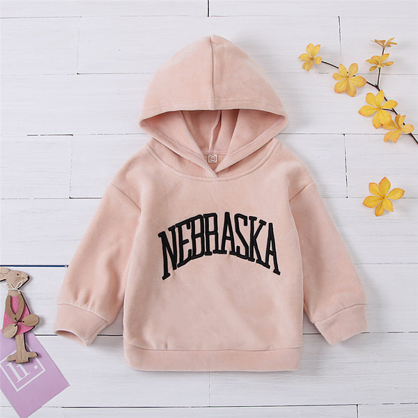 Girls Nebraska Hooded Long-Sleeve Warm Top Girls Clothes Wholesale
