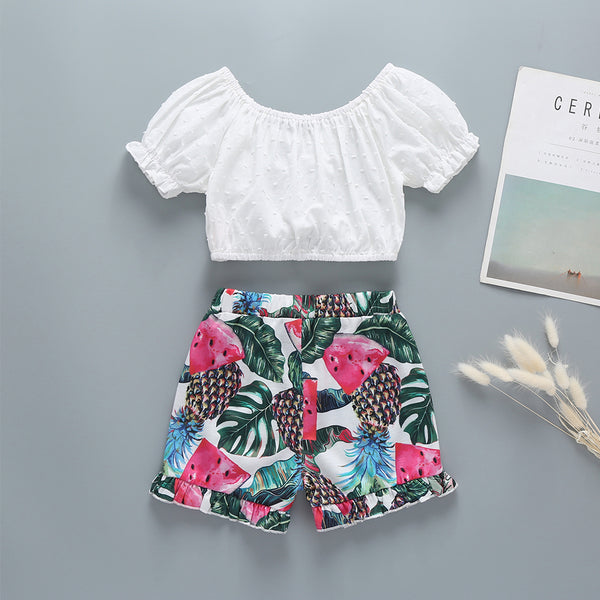 New Children'S Clothing Toddler Girl White Top + Printed Pants Suit Two-Piece Wholesale Baby Girl Clothes