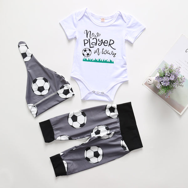 Baby Boys New Player In Tower Soccer Printed Short Sleeve Romper & Pants & Hat Wholesale Baby