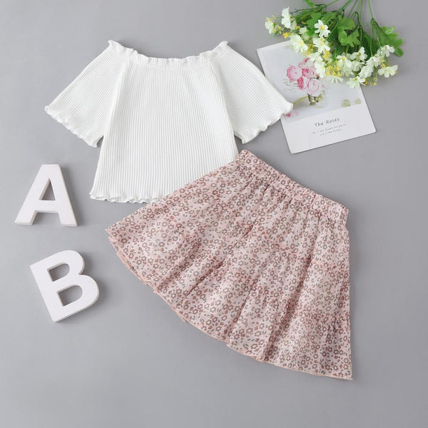 New Summer Korean Style Children'S Shirt&Floral Skirt Suit Two-Piece Suit Toddler Girl Wholesale Clothing