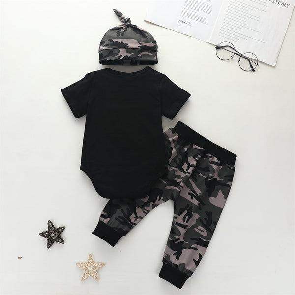 Baby Boys New To The Crew Short Sleeve Top & Camo Pants & Hat wholesale baby boutique suppliers usa