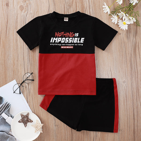 Boys Nothing Is Impossible Printed Color Block Short Sleeve Top & Shorts children clothing vendors