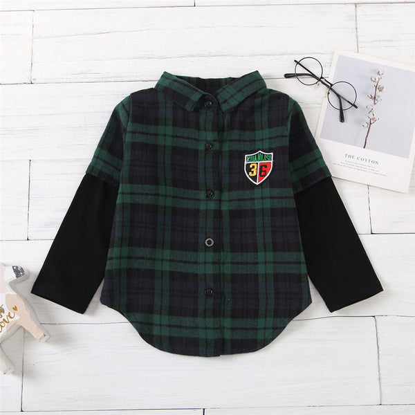 Unisex Number Plaid Long Sleeve Lapel Shirts Kids Wholesale Clothing