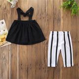 Girls Off-shoulder Solid Color Top & Striped Pants Toddler Girl Wholesale Clothing