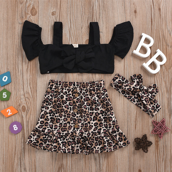Girls Off Shoulder Bow Decor Short Sleeve Sling Top & Leopard Skirt & Headband wholesale kids clothing suppliers