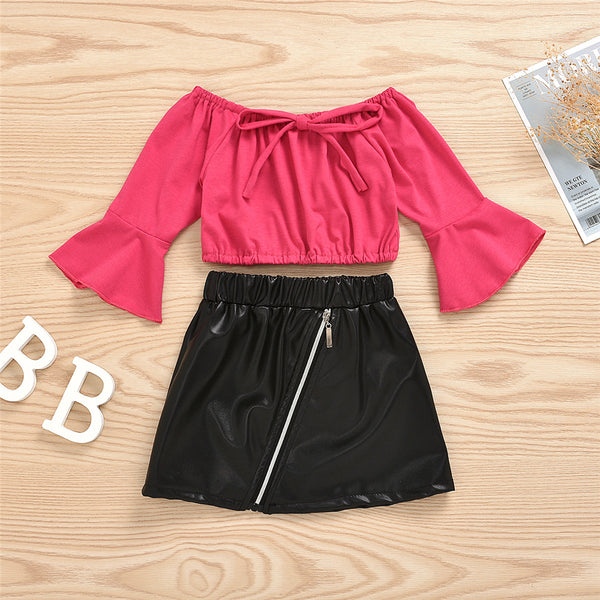 Girls Off Shoulder Flared Sleeve Top & PU Skirt Girls Clothes Wholesale
