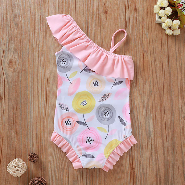 Girls Off Shoulder Floral Printed Ruffled Swimwear Toddler One Piece Swimsuit
