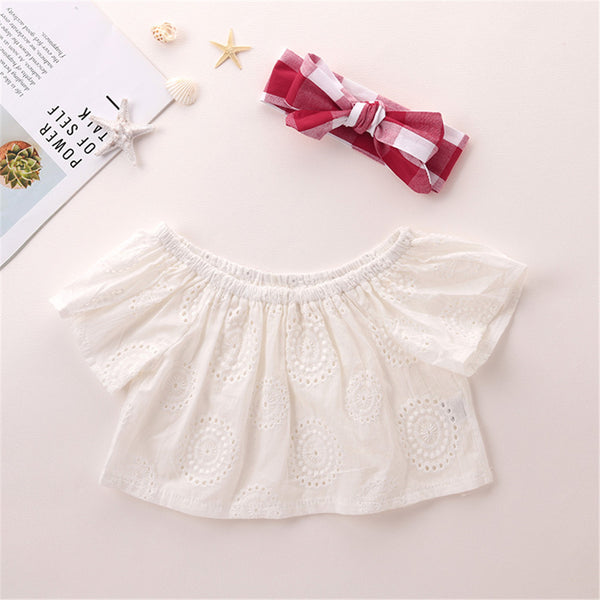 Baby Girls Off Shoulder Hollow Out Short Sleeve Top & Plaid Shorts & Headband Baby Clothes Vendors