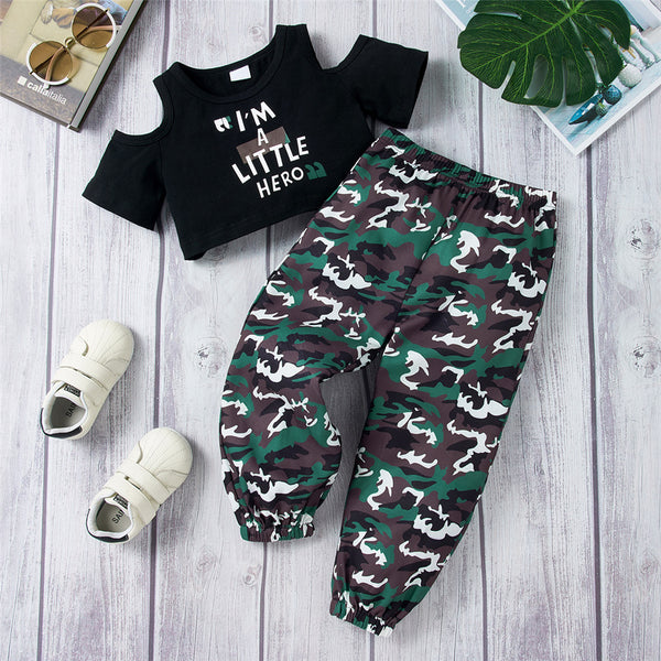 Girls Off Shoulder I Am A Little Hero Top & Camo Pants Girls Boutique Clothing Wholesale