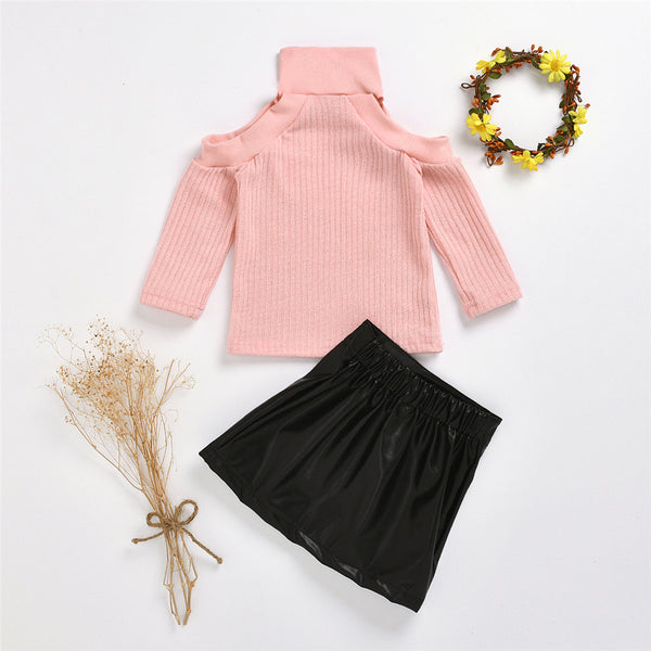 Girls Off Shoulder Long Sleeve Sweaters & PU Skirt Toddler Girls Wholesale