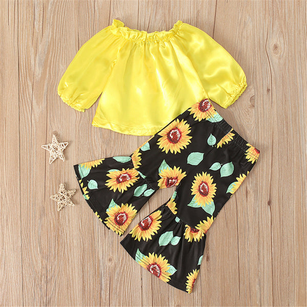 Girls Off Shoulder Long Sleeve Tops & Sunflower Printed Flare Pants