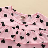 Girls Off Shoulder Ruffled Heart Printed Dress Trendy Toddler Clothes Cheap