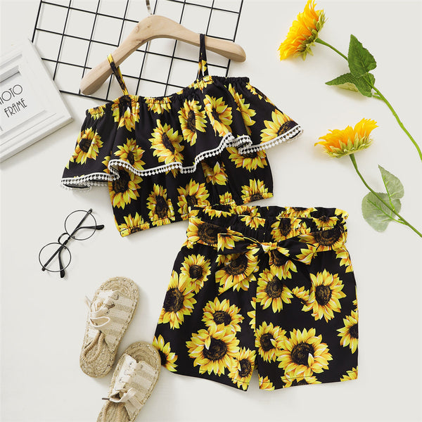 Girls Off Shoulder Ruffled Sling Sunflower Printed Top & Shorts kids clothing wholesale