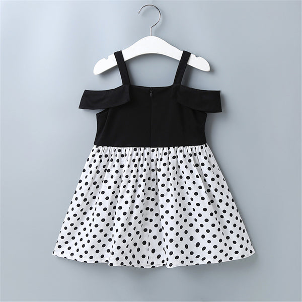 Girls Off Shoulder Short Sleeve Polka Dot Splicing Suspender Dress Girls Clothing Wholesale