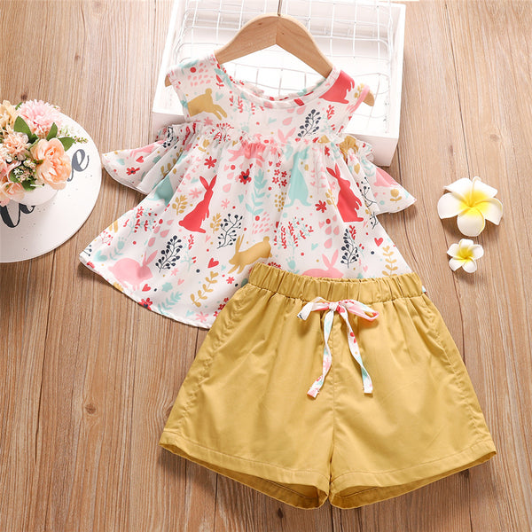 Girls Off Shoulder Short Sleeve Top & Shorts childrens wholesale clothing