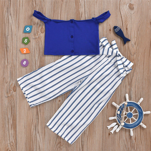 Girls Off Shoulder Sleeveless Solid Top & Striped Pants wholesale girls clothes