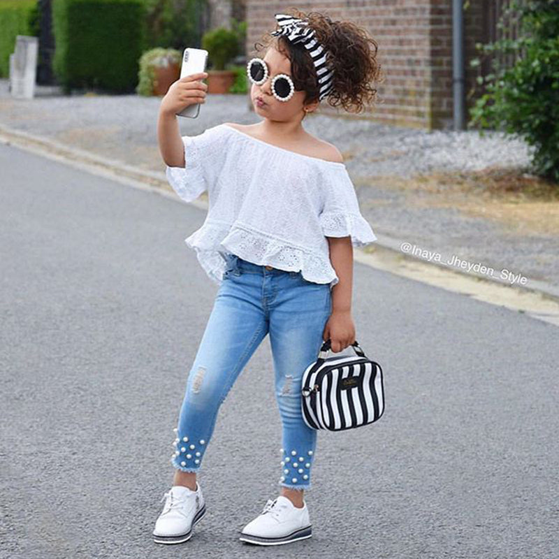 Girls Off Shoulder Solid Short Sleeve Top & Pearl Ripped Jeans Wholesale Childrens Clothing